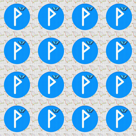 Rune Wunjo helps to end the troubles, helps to achieve success in work, helps to achieve promotion, brings happiness in love, provides a good result. Corresponds to the astrological sign of Leo.  Seamless pattern