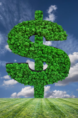 Natural green money dollar symbol. Eco friendly business, green profit, growing money and sustainable economy concept. 3D illustration