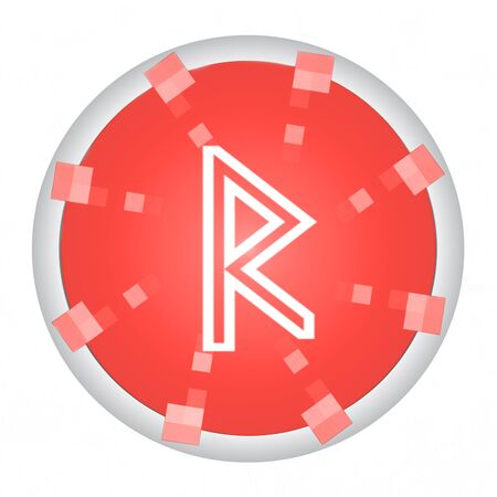 Ancient scandinavic Raidho rune symbolizes the vein movement and corresponds to the astrological sign of Gemini  isolated on white background. 写真素材