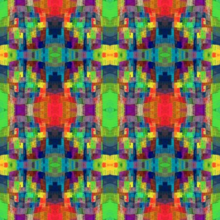 Boho chic fractal abstract seamless checkered pattern. Symmetrical and eclectic at the same time, charming and psychedelic. Bohemian funky ethnic rainbow patchwork for fabric, cloth, wallpaper and wall decoration.