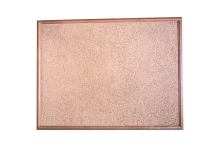 Office vintage blank cork notice board wooden hanging empty board isolated on white background