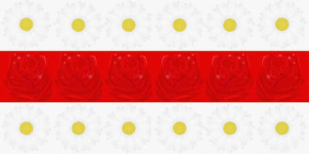 National Flag of the Republic of Belarus made of red roses and white daisies.