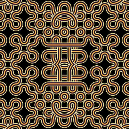 Intricate seamless volumetric ethnic pattern of knots. Monochrome minimalistic three-dimensional background of curved tubes tied in knots. 3D illustration.