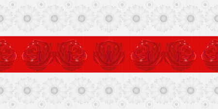 Seamless floral pattern with daisies and roses in the colors of the Belarusian white-red-white flag. Beautiful flower textured background. Foto de archivo