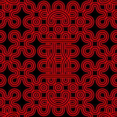 Red and black intricate seamless volumetric ethnic pattern of knots. Monochrome minimalistic three-dimensional background of curved tubes tied in knots. 3D illustration.