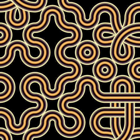 Intricate volumetric ethnic pattern of knots. Monochrome minimalistic three-dimensional background of curved tubes tied in knots. 3D illustration.