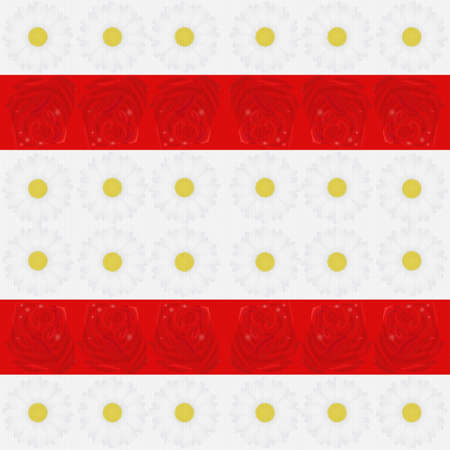 Seamless floral pattern with daisies and roses in the colors of the Belarusian white-red-white flag.