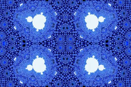 Seamless high resolution full white Mandelbrot set fractal pattern on beautiful geometric blue three-dimensional background. 3D illustration.