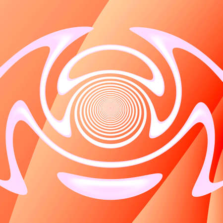 Abstract symmetrical pattern. Banner, button, symbol, icon for web design. White silhouette on a peach fractal background