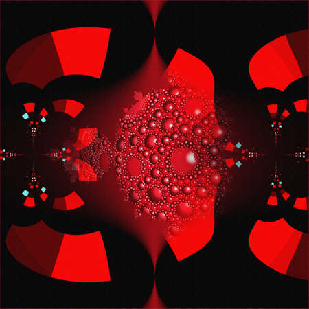 Apollonian gasket or Apollonian net red and clack fractal pattern. Pomegranate juice tile 3D illustration.