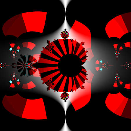 High resolution black and red full Mandelbrot fractal set beautiful pattern on square background.