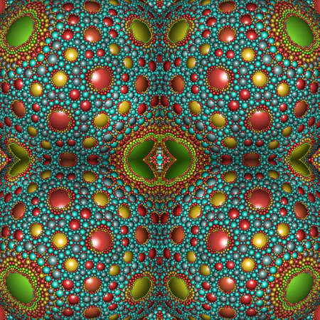 Beautiful colorful seamless vintage blue and green pattern for home decoration and creating a joyful state of mind. Fractal art. 3D illustration