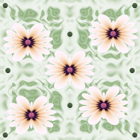 Seamless floral mosaic colorful pattern of gentle geometric flowers in harmonious colors on a green background. Suitable for tiles, fabric, wallpaper and interior decoration. Foto de archivo