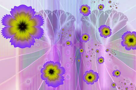 Pansy. Beautiful purple and yellow flowers pattern. Everything goes well with heartseases. The fractal design of the lovely heads of pansies. Fractal art of heartsease, peace of mind, calmness of emotion, wild pansy so called because formerly believed to cure the pangs of love.