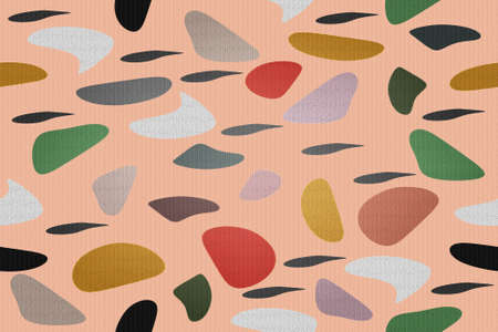 Vintage beautiful mosaic seamless colorful pattern of various geometric shapes in harmonious colors isolated on a pink background. Suitable for tiles, fabric, wallpaper and interior decoration. Foto de archivo