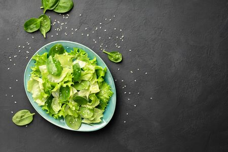 Top view of a fresh green vegetable salad of spinach, lettuce and sesame seeds on a plate. Black background. Copy space for text.