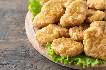 Fried crispy chicken nuggets close-up