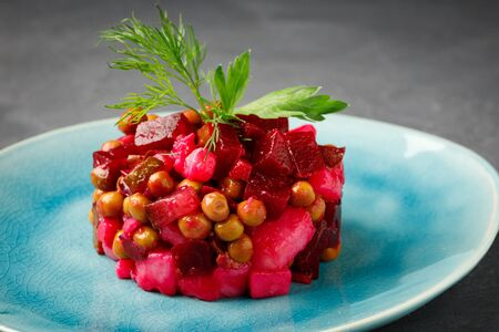 Russian food - fresh beet salad vinaigrette.
