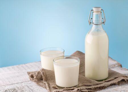 Milk. Bottle and glass with milk. Reklamní fotografie