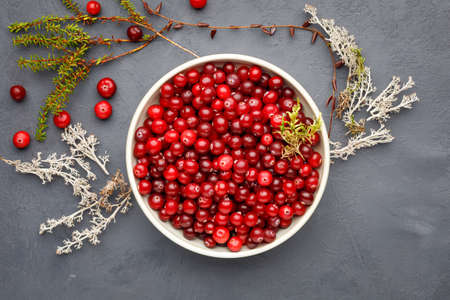 Top view of bowl with cranberries on gray concrete background