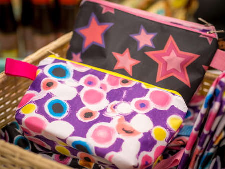 Colorful Pouch on Display Stock Photo