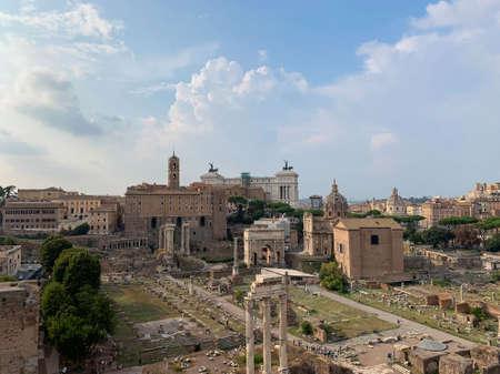 Landscape panoramic view of the Roman Forum - Tempio di Vesta, Lacus Curtius, Temple of Castor and Pollux, Basilica Giulia, Arco di Settimio Severo, Palazzo Senatorio, The Capitoline Hill, Rome, Italy