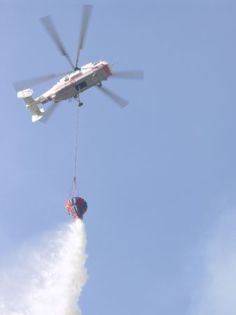 conflagration: fire helicopter to extinguish a conflagration