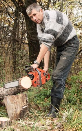 woodcutter: Wood-cutter sawing wood with a red chainsaw Stock Photo