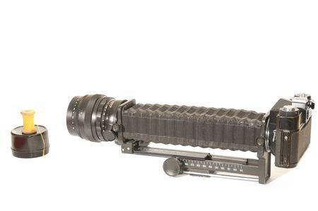 bellows-type camera on white background photo