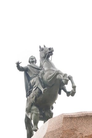 synod: The Bronze Horseman a monument to Peter the Great the founder of St Petersburg, Russia.Standing in Senatskaia Square facing the Neva River and surrounded by Senate and Synod buildings