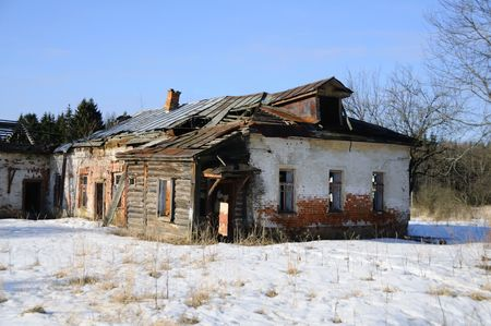 old building  .   winter  landscape photo