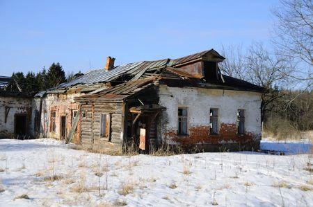old building  .   winter  landscape photo