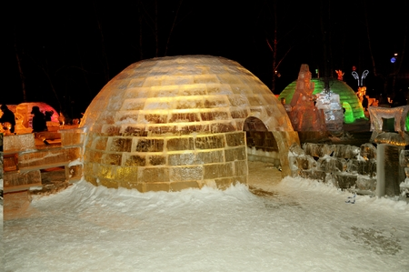 The exhibition of ice sculptures in Sokolniki Park. Moscow. Russia.