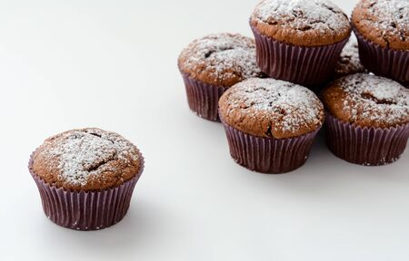 Chocolate cupcake isolated on the white background 스톡 콘텐츠