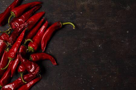 Dried Chili pepper on dark background. Reklamní fotografie