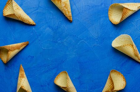 Ice cream wafer cones pattern. Top view.