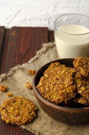 Pumpkin vegan oatmeal cookies with oat milk