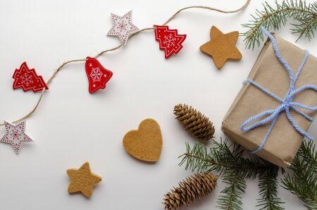 Holiday natural decoration. Christmas gifts. Фото со стока