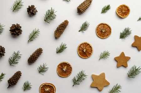 pinecones on white background. Holiday natural decoration
