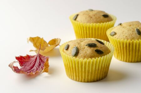 Pumpkin Spice Muffins Isolated on a White Stok Fotoğraf