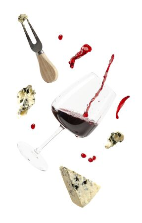 Dorblu cheese and wine glass isolated on white. 写真素材