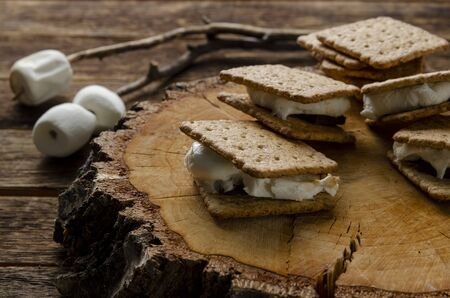 Fresh homemade smores with marshmallows, chocolate and graham crackers.