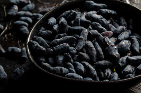 bowl of blue honeysuckle berries on a dark textured background, closeup Stock Photo