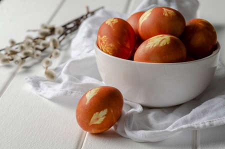 easter eggs colored with onion skin with