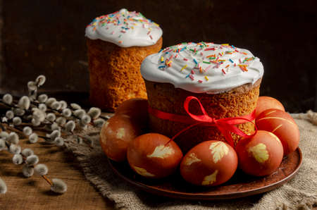 Easter cake with onion painted eggs with willow, russian orthodox easter.