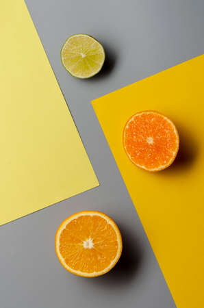 Minimalist still life composition with citrus, copy space, abstract concept