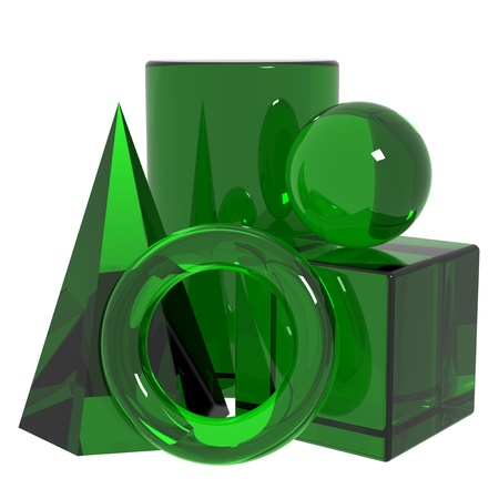 basic shapes: Basic shapes from green glass