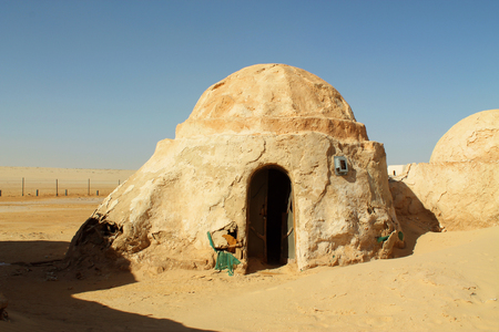 Buildings for the film Star Wars in the Sahara Desert, Tunisia Editorial