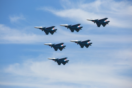 The Russian Air Force SU30-SM team performs demonstrations, demonstration of aerobatics on a multipurpose fighter of the generation 4+