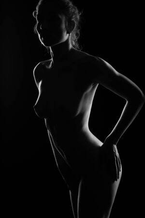 Silhouette of a Nude sexy long-haired woman with a beautiful body. Black and white erotic Studio photo. A naked girl with beautiful Breasts looks at the camera with her hands on her hips Archivio Fotografico
